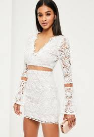 white lace dress white lace flare sleeve bodycon dress missguided ireland