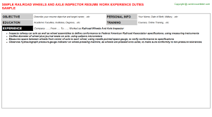 exle of a great resume wheels and axle inspector resume sle template format