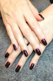 plum paisley cnd shellac with nordic lights layered on top nails