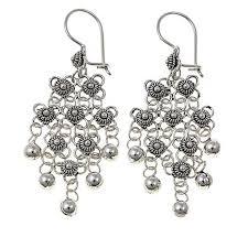 fashion earrings ottoman jewelry sterling silver beaded floral drop earrings
