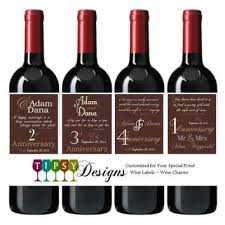 anniversary wine bottles 4 customized wine bottle labels from tipsydesigns on etsy