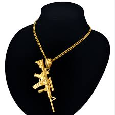 necklace size men images Hip hop military jewelry 4 size men chain carbine gun necklaces jpg