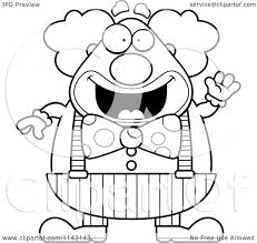 cartoon clipart of a black and white waving chubby circus clown
