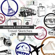 travel sketches photoshop and gimp brushes by redheadstock on