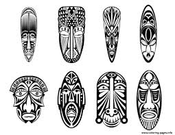 12 african masks coloring pages printable