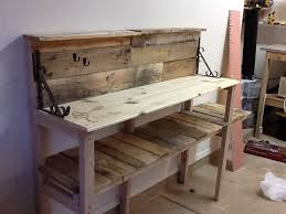 Free Wooden Potting Bench Plans by Diy Pallet Wood Potting Bench Youtube