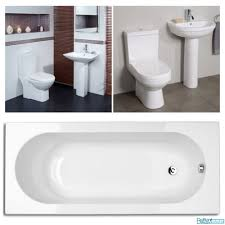 complete bathroom suite inc 1600mm bath tub basin sink toilet set