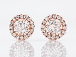 modern gold stud earrings halo stud earrings modern 1 34 european cut diamonds in 14k