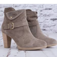 alpe suede heeled ankle boot with buckle grey
