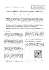 Sho Nr Kur problems with quantum key distribution pdf available