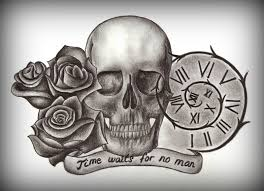 roses skull n jeweled crown tattoo design