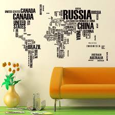 2015 new fashion world map wall sticker black country name home