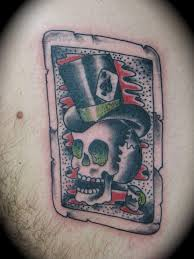tarot card of a top hat skull tattoo by kike castillo tattoonow