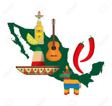 cartoon tequila map guitar tequila hat and pepper mexico landmark and mexican