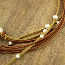 leather necklace string images Aobei pearl handmade necklace made of genuine leather cord korean jpg