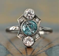 1920s engagement rings deco engagement ring unique engagement ring blue zircon