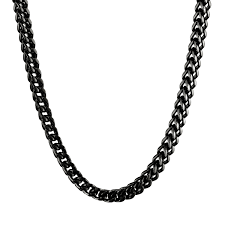 black chain necklace images Men 39 s black plated stainless steel wheat chain necklace 6mm jpg
