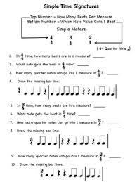 2 clear cut music time signature meter worksheets rhythm