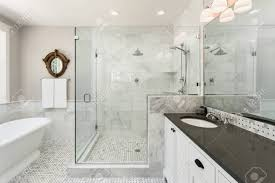 Shower In Bathroom Bathtub And Shower In New Luxury Home Stock Photo Picture And