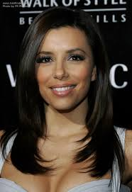 best female haircuts for a widow s peak eva longoria s long hair with a widows peak giving her straight