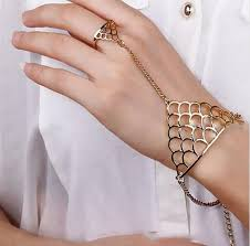 ring with chain bracelet images Ziory 1 pcs punk alloy gold finger ring bangle chain bracelet hand jpeg
