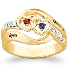 name ring gold 14k gold plated couples name birthstone hearts ring with diamond