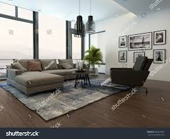 modern cozy living room interior gray stock illustration 305823563