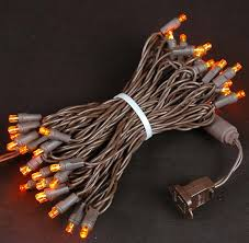 brown wire wide angle orange amber 50 bulb led christmas lights