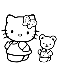 kitty teddy bear coloring u0026 coloring pages