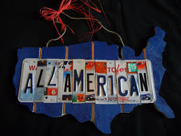 all american license plate art sign rustic home decor