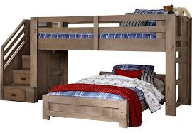 Montana Driftwood Twin Twin Step Jr Loft Bed BunkLoft Beds - Rooms to go bunk bed