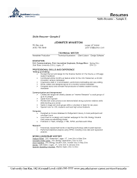 best solutions of sample of resume skills with additional proposal