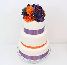 halloween inspired wedding cake topper orange purple rose