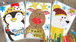 3 printable holiday u0027thank you u0027 cards kids can color themselves