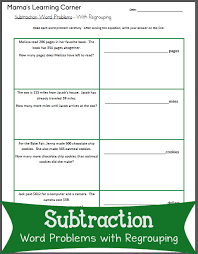 subtraction word problems subtraction word problems with regrouping mamas learning corner