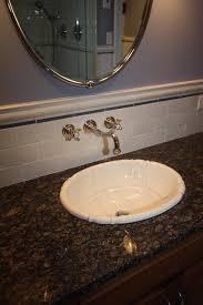 Contemporary Bathroom Backsplash Subway Tile Cracked Glass With - Bathroom subway tile backsplash