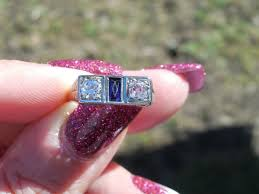 art deco 3 stone diamond and sapphire ring 18k white gold mine cut