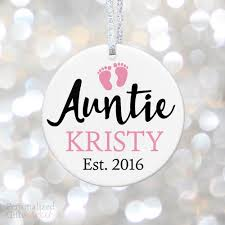 auntie pregnancy announcement ornament personalized