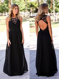 2017 black formal lace bridesmaid dresses long sleeveless open