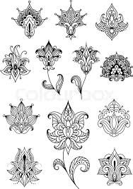 paisley outline flowers with sagittate petals and curved leaves