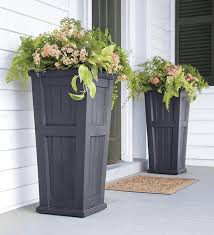 outdoor and patio two black wooden tall outdoor planters with