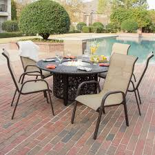 6 Person Patio Dining Set - madison bay 7 piece sling patio dining set with fire pit table by