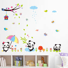 popular panda wall decal buy cheap panda wall decal lots from oversize cute panda wall stickers under the tree wall decal nature scenery stickers baby room for