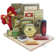 gourmet gift a cut above gourmet gift basket with wooden cutting board of