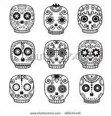 sugar skull vector set day dead stock vector 469434446