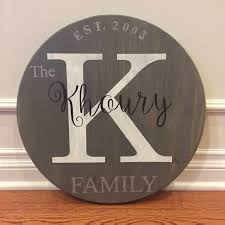 personalized round wood monogram family sign ak creative freedom