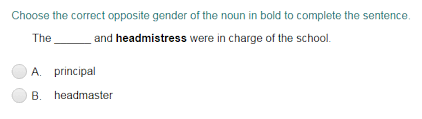 completing sentences with correct opposite noun gender quiz