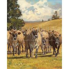 creation of the cow print featuring jersey cows grass