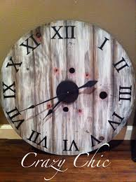 upcycled wall clock from a cable wire spool restoration hardware