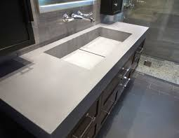 bathroom rectangular trough sink with concrete sink and wall